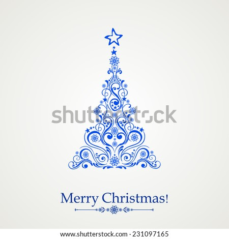 Graphic elegant Christmas tree isolated on White background. Vector illustration - stock vector