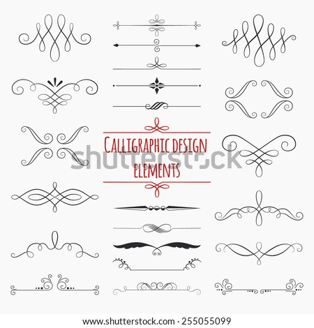 Graphic elements calligraphic vector sets for designers - patterns, designs, monograms and curlicues, arrows. For weddings,Valentine's day,holidays,baby design,birthday. - stock vector