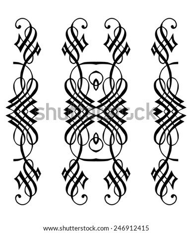 graphic elements for design painted in the style of calligraphy - stock vector
