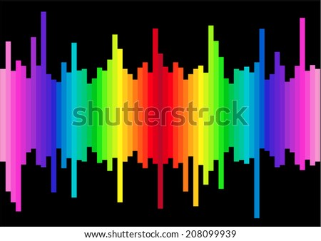 Graphic equalizer background reflections  - stock vector