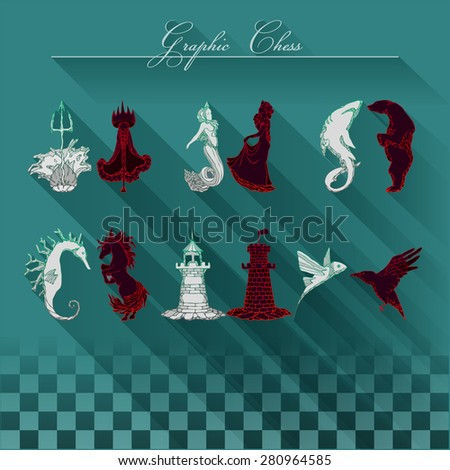 Graphic figures. Elements: water and earth. Characters: the rook - lighthouse, knight-sea horse, bishop-shark, mermaid-queen, king Trident; Pawn- fish, tower, horse, bear, princess, wand, cloak, crown - stock vector