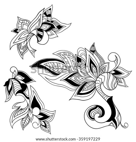 Graphic floral design element. Paisley. Vector format.
