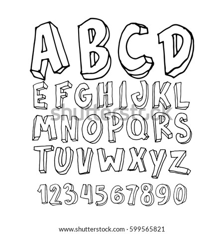 Graphic Font For Your Design Hand Drawn Calligraphy Lettering Alphabet Stylish Letters With In