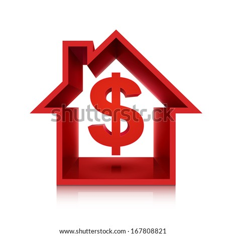 graphic for real estate business, 3d dollar symbol isolated on white background  - stock vector