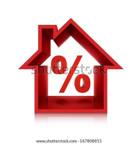 graphic for real estate business, 3d percentage isolated on white background  - stock vector