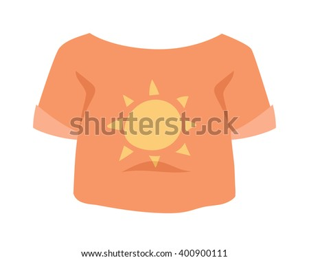 Graphic girls T-shirt design vector icon with sun isolated. T-shirt vector sport clothes. T-shirt vector fashion design. T-shirt vector cotton textile. Girls t-shirt vector cloth isolated. - stock vector