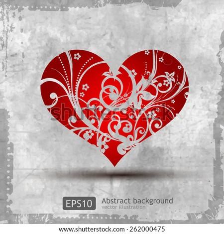 Graphic grunge heart, ink splatter vector. Paint splat. Love - stock vector