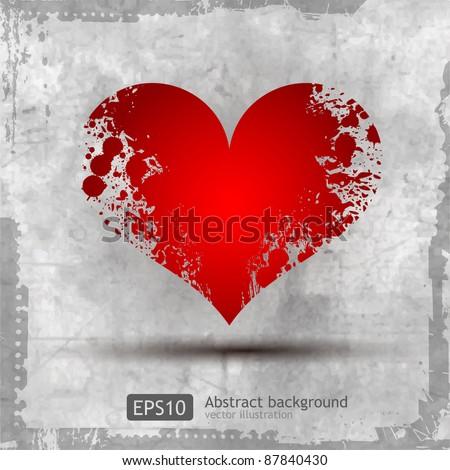 Graphic grunge heart, ink splatter vector. Paint splat. Love splash splatter illustration. - stock vector