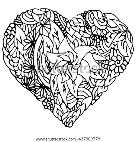 graphic hand-drawing heart. In the style of a floral pattern. vector. version 3