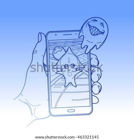Graphic hand holding smartphone with GPS navigation and fantasy creatures flying out of it. Vector conceptual line art. Trendy outdoor adventure game