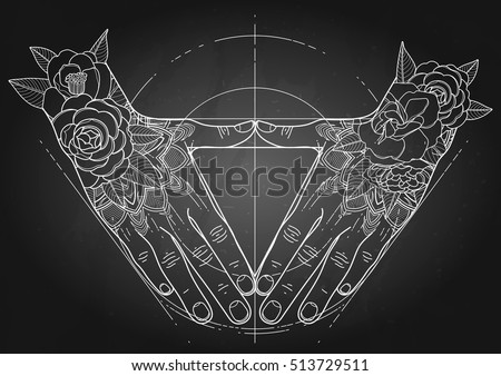 T Shirt Design Line Art : Graphic hands folded shape triangle sacred stock vector 513729511