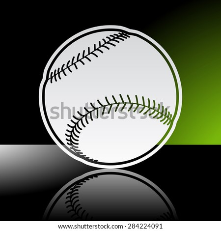 Graphic icon of baseball ball with reflection - stock vector
