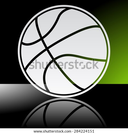 Graphic icon of basketball ball with reflection - stock vector