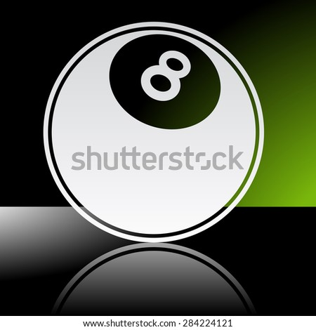 Graphic icon of pool ball with reflection - stock vector