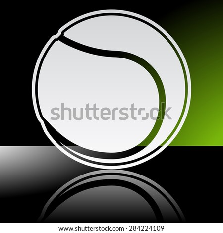 Graphic icon of tennis ball with reflection - stock vector