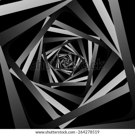 Graphic illusion: black and white, disappearing into the distance. - stock vector