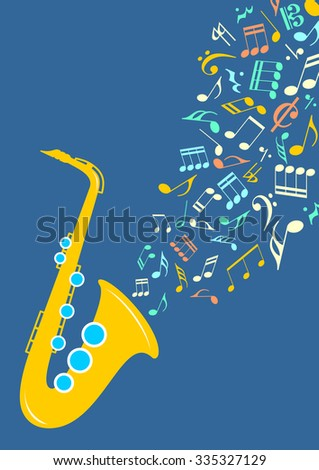 Graphic illustration - Notes departing from saxophone in vector - stock vector