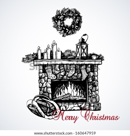 Graphic illustration of a Christmas fireplace - stock vector