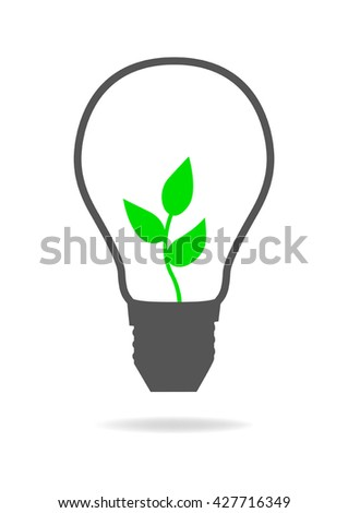 Graphic illustration of a light bulb with young tree inside