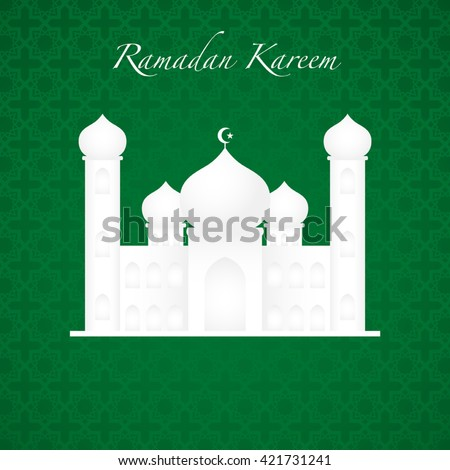 Graphic illustration of a mosque on green background. Islam, Islamic, Ramadan Kareem, Eid Mubarak theme - stock vector