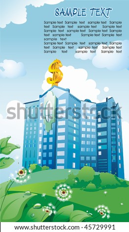 Graphic Illustration of Bank building with dollar symbol on sky background. Vector art of a business Skyscraper on summer Landscape. Modern corporate buildings. - stock vector
