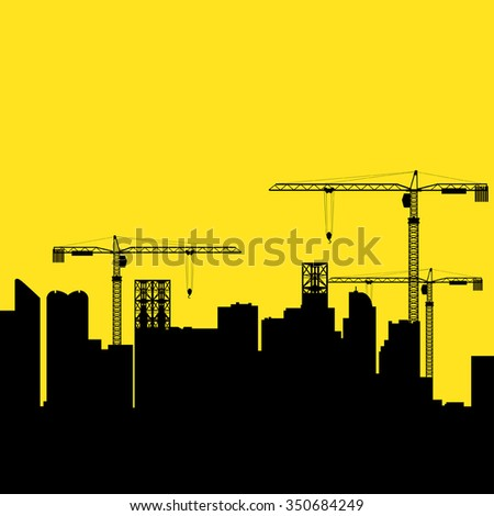 Graphic illustration of construction cranes and buildings, development, developing, growth, theme - stock vector
