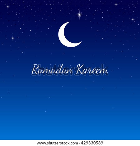 Graphic illustration of crescent moon and starry sky, for Ramadan background and greeting card - stock vector
