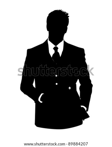 Graphic illustration of man in business suit as user icon, avatar - stock vector