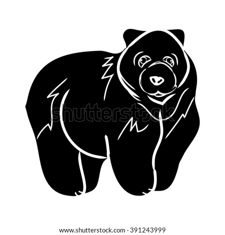 Graphic image of a bear on a white background. Black silhouette outline. Simple bear pattern, vector. - stock vector