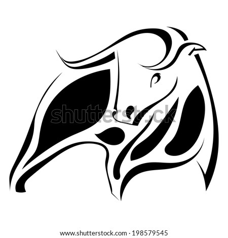 Graphic image of a strong black bull. Vector illustration - stock vector