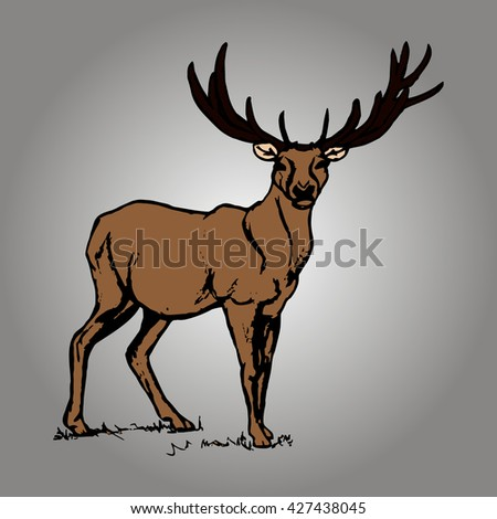 Graphic image of deer with big antlers