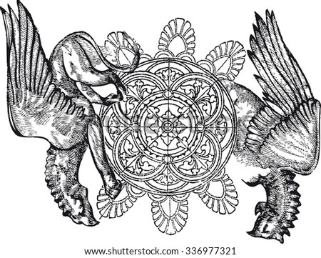 graphic image of gothic griffins - stock vector