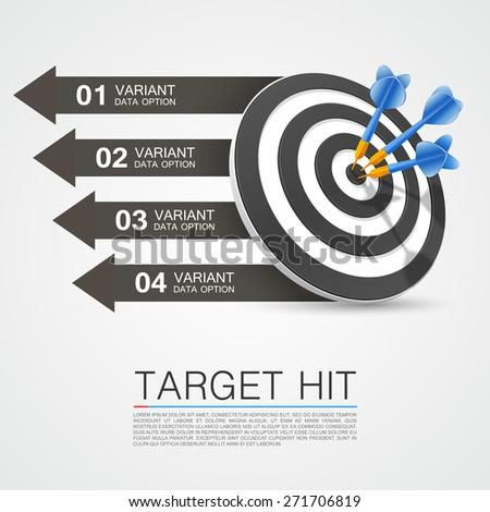 Graphic information target with darts. Vector illustration - stock vector