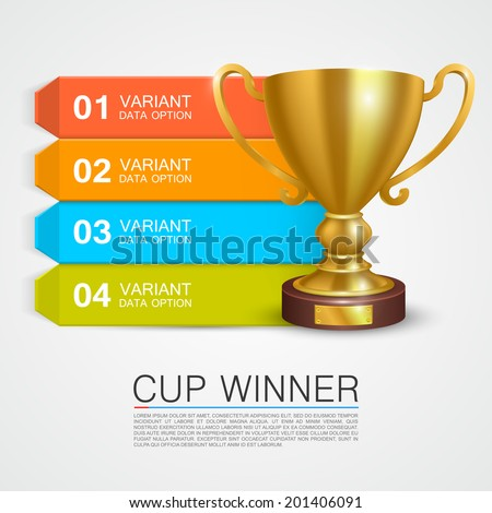 Graphic information Winner cup leader, Cup winner info, Vector infographic illustration - stock vector