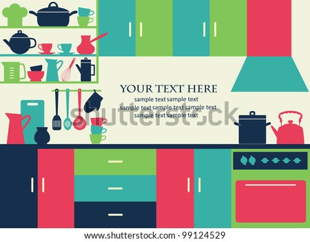 graphic kitchen interior card. vector illustration - stock vector