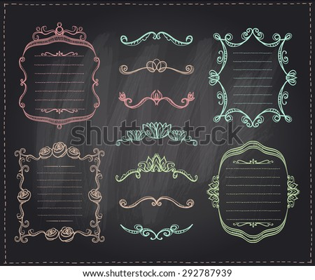 Graphic line dividers, monogram frames and elements set on a chalkboard, eps10 - stock vector
