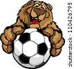 Graphic Mascot Vector Image of a Friendly Bear with Paws on a Soccer Ball - stock vector