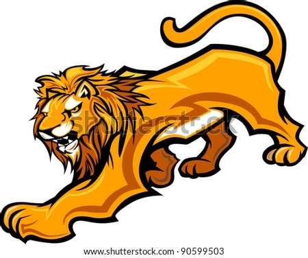 Graphic Mascot Vector Image of a Lion Body