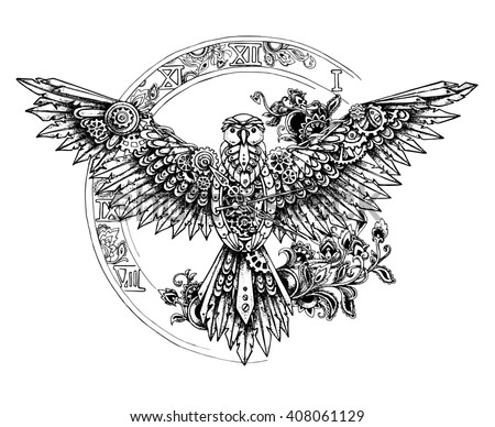 Graphic mechanical bird with spread wings on the background of the big clock. Steampunk  and dotwork tattoo style - stock vector