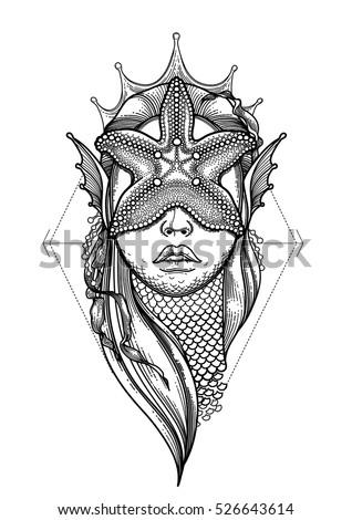 graphic mermaid head starfish on her stock vector 526643614 shutterstock. Black Bedroom Furniture Sets. Home Design Ideas