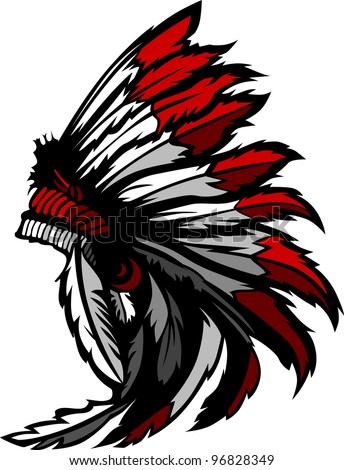 Graphic Native American Indian Chief Headdress - stock vector