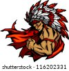Graphic Native American Indian Chief Mascot with Headdress Flexing Arm - stock vector
