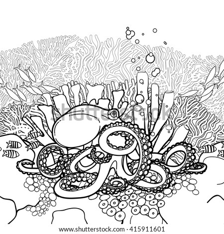 Graphic Octopus And Coral Reef Drawn In Line Art Style Sea Ocean