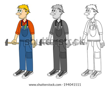 Graphic of a cartoon plumber, auto mechanic or handyman in overalls holding a hammer, vector art image illustration, isolated on white background, colorful, grayscale and outline, hand drawn design - stock vector
