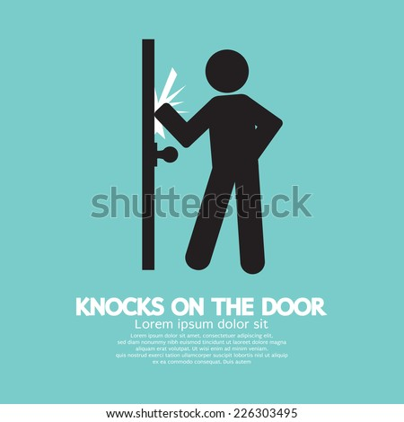 Graphic Of Single Man Knocks on The Door Vector Illustration - stock vector