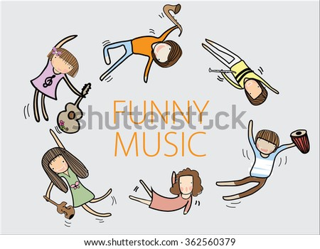 Graphic of the kids are having fun with the instrument. - stock vector