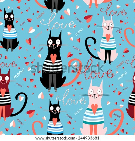 graphic pattern in love funny cats on a blue background with hearts - stock vector