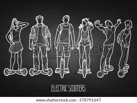 Line Drawing Vector Graphics : Graphic people riding on electric scooters stock vector 378791647