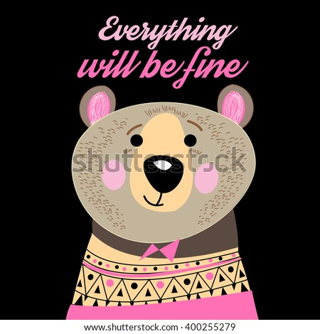 Graphic portrait of a funny bear on a dark background