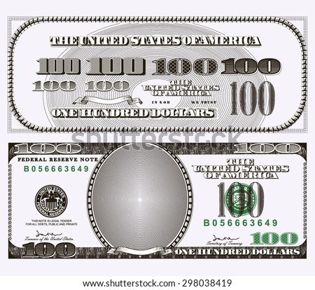 Graphic representation of elements one hundred dollar bill. Vector graphics - stock vector